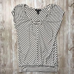 White House Black Market Striped Short Sleeve Top